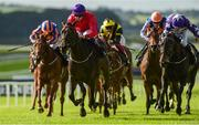 16 September 2018; Skitter Scatter, with Ronan Whelan up, second from left, lead the field on their way to winning The Moyglare Stud Stakes at the Curragh Races on St Ledger Day at the Curragh Racecourse in Curragh, Kildare. Photo by Matt Browne/Sportsfile