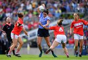 16 September 2018; Niamh McEvoy of Dublin in action against Ashling Hutchings and Shauna Kelly of Cork during the TG4 All-Ireland Ladies Football Senior Championship Final match between Cork and Dublin at Croke Park, Dublin. Photo by Brendan Moran/Sportsfile