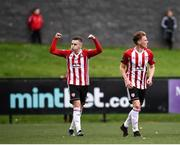 16 September 2018; Ronan Hale, left, of Derry City celebrates after scoring his side's first goal during the EA SPORTS Cup Final between Derry City and Cobh Ramblers at the Brandywell Stadium in Derry. Photo by Stephen McCarthy/Sportsfile