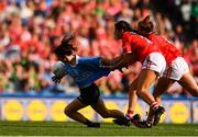 16 September 2018; Lyndsey Davey of Dublin is fouled by Eimear Meaney of Cork during the TG4 All-Ireland Ladies Football Senior Championship Final match between Cork and Dublin at Croke Park, Dublin. Photo by Sam Barnes/Sportsfile