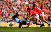 16 September 2018; Lyndsey Davey of Dublin in action against Shauna Kelly, right and Eimear Meaney of Cork during the TG4 All-Ireland Ladies Football Senior Championship Final match between Cork and Dublin at Croke Park, Dublin. Photo by Sam Barnes/Sportsfile
