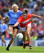 16 September 2018; Nicole Owens of Dublin in action against Shauna Kelly of Cork during the TG4 All-Ireland Ladies Football Senior Championship Final match between Cork and Dublin at Croke Park, Dublin. Photo by Brendan Moran/Sportsfile