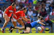 16 September 2018; Lyndsey Davey of Dublin is fouled by Eimear Meaney and Shauna Kelly of Cork resulting in a penalty during the TG4 All-Ireland Ladies Football Senior Championship Final match between Cork and Dublin at Croke Park, Dublin. Photo by Brendan Moran/Sportsfile