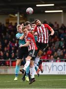 16 September 2018; Kevin McHattie, left, and Darren Cole of Derry City in action against Cobh Ramblers players, from left, David Hurley, James McSweeney and Gordan Walker during the EA SPORTS Cup Final between Derry City and Cobh Ramblers at the Brandywell Stadium in Derry. Photo by Stephen McCarthy/Sportsfile