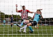 16 September 2018; Chris Hull of Cobh Ramblers scores his side's first goal despite the attention of Darren Cole of Derry City during the EA SPORTS Cup Final between Derry City and Cobh Ramblers at the Brandywell Stadium in Derry. Photo by Stephen McCarthy/Sportsfile
