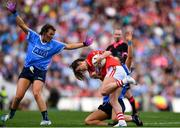 16 September 2018; Eimear Scally of Cork in action against Sinéad Goldrick, right, and Leah Caffrey of Dublin during the TG4 All-Ireland Ladies Football Senior Championship Final match between Cork and Dublin at Croke Park, Dublin. Photo by Sam Barnes/Sportsfile