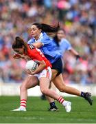 16 September 2018; Eimear Scally of Cork in action against Sinéad Goldrick of Dublin during the TG4 All-Ireland Ladies Football Senior Championship Final match between Cork and Dublin at Croke Park, Dublin. Photo by Sam Barnes/Sportsfile