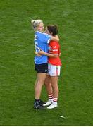 16 September 2018; Eimear Scally of Cork is consoled by Nicole Owens of Dublin after the TG4 All-Ireland Ladies Football Senior Championship Final match between Cork and Dublin at Croke Park, Dublin. Photo by Piaras Ó Mídheach/Sportsfile