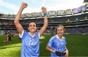 16 September 2018; Niamh McEvoy, left, and Sinéad Finnegan of Dublin celebrate following the TG4 All-Ireland Ladies Football Senior Championship Final match between Cork and Dublin at Croke Park, Dublin. Photo by David Fitzgerald/Sportsfile