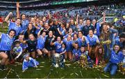 16 September 2018; The Dublin team celebrate with the Brendan Martin cup following the TG4 All-Ireland Ladies Football Senior Championship Final match between Cork and Dublin at Croke Park, Dublin. Photo by David Fitzgerald/Sportsfile