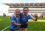 16 September 2018; Niamh McEvoy, right, and Sinéad Finnegan of Dublin celebrate following the TG4 All-Ireland Ladies Football Senior Championship Final match between Cork and Dublin at Croke Park, Dublin. Photo by David Fitzgerald/Sportsfile