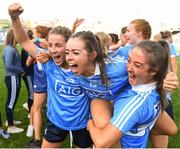 16 September 2018; Dublin players from left, Aoife Kane, Kate Fitzgibbon and Eabha Rutledge following the TG4 All-Ireland Ladies Football Senior Championship Final match between Cork and Dublin at Croke Park, Dublin. Photo by Eóin Noonan/Sportsfile