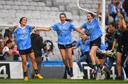 16 September 2018; Dublin players, from left, Hannah O'Neill, Sinéad Goldrick and Sinead Aherne celebrate after the TG4 All-Ireland Ladies Football Senior Championship Final match between Cork and Dublin at Croke Park, Dublin. Photo by Brendan Moran/Sportsfile