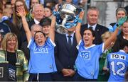 16 September 2018; Dublin players Sinéad Goldrick, left, and Hannah O'Neill celebrate with teh cup after the TG4 All-Ireland Ladies Football Senior Championship Final match between Cork and Dublin at Croke Park, Dublin. Photo by Brendan Moran/Sportsfile