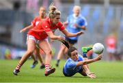 16 September 2018; Niamh McEvoy of Dublin in action against Ashling Hutchings of Cork during the TG4 All-Ireland Ladies Football Senior Championship Final match between Cork and Dublin at Croke Park, Dublin. Photo by Eóin Noonan/Sportsfile