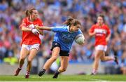 16 September 2018; Noelle Healy of Dublin in action against Melissa Duggan of Cork following the TG4 All-Ireland Ladies Football Senior Championship Final match between Cork and Dublin at Croke Park, Dublin. Photo by Eóin Noonan/Sportsfile