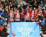16 September 2018; Derry City captain Gerard Doherty and his team-mates celebrate with the cup following the EA SPORTS Cup Final between Derry City and Cobh Ramblers at the Brandywell Stadium in Derry. Photo by Stephen McCarthy/Sportsfile