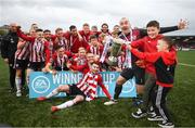 16 September 2018; Derry City captain Gerard Doherty and children Lennan and Killian, right, celebrate following the EA SPORTS Cup Final between Derry City and Cobh Ramblers at the Brandywell Stadium in Derry. Photo by Stephen McCarthy/Sportsfile