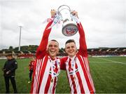 16 September 2018; Derry City players Rory, left, and Ronan Hale celebrate with the cup following the EA SPORTS Cup Final between Derry City and Cobh Ramblers at the Brandywell Stadium in Derry. Photo by Stephen McCarthy/Sportsfile