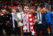 16 September 2018; Man of the Match Jamie McDonagh of Derry City following the EA SPORTS Cup Final between Derry City and Cobh Ramblers at the Brandywell Stadium in Derry. Photo by Stephen McCarthy/Sportsfile