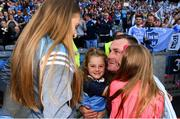 16 September 2018; Dublin manager Mick Bohan celebrates with his neice Ella Goldrick, and daughters, Freya, centre, and Lalia, right, following the TG4 All-Ireland Ladies Football Senior Championship Final match between Cork and Dublin at Croke Park, Dublin. Photo by Sam Barnes/Sportsfile