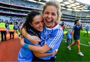 16 September 2018; Dublin players Sinéad Goldrick, left, and Sinéad Finnegan celebrate after the TG4 All-Ireland Ladies Football Senior Championship Final match between Cork and Dublin at Croke Park, Dublin. Photo by Brendan Moran/Sportsfile