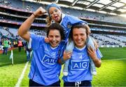 16 September 2018; Katie Murray of Dublin and her niece Evie Evans celebrate with Leah Caffrey, right, after the TG4 All-Ireland Ladies Football Senior Championship Final match between Cork and Dublin at Croke Park, Dublin. Photo by Brendan Moran/Sportsfile