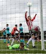 16 September 2018; Ronan Hale celebrates after his Derry City team-mate Darren Cole, left, scored their second goal past Cobh Ramblers goalkeeper Adam Mylod during the EA SPORTS Cup Final between Derry City and Cobh Ramblers at the Brandywell Stadium in Derry. Photo by Stephen McCarthy/Sportsfile