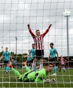 16 September 2018; Ronan Hale celebrates after his Derry City team-mate Darren Cole, not pictured, scored their second goal past Cobh Ramblers goalkeeper Adam Mylod during the EA SPORTS Cup Final between Derry City and Cobh Ramblers at the Brandywell Stadium in Derry. Photo by Stephen McCarthy/Sportsfile