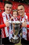 16 September 2018; Ronan Hale, with his daughter Mya, and Rory Hale of Derry City following the EA SPORTS Cup Final between Derry City and Cobh Ramblers at the Brandywell Stadium in Derry. Photo by Stephen McCarthy/Sportsfile