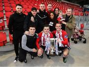 16 September 2018; Ronan and Rory Hale celebrate with their family following the EA SPORTS Cup Final between Derry City and Cobh Ramblers at the Brandywell Stadium in Derry. Photo by Stephen McCarthy/Sportsfile