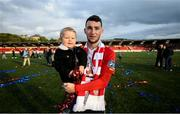 16 September 2018; Jamie McDonagh of Derry City with his two-year-old son Layton following the EA SPORTS Cup Final between Derry City and Cobh Ramblers at the Brandywell Stadium in Derry. Photo by Stephen McCarthy/Sportsfile