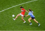 16 September 2018; Eimear Scally of Cork in action against Leah Caffrey of Dublin during the TG4 All-Ireland Ladies Football Senior Championship Final match between Cork and Dublin at Croke Park, Dublin. Photo by Piaras Ó Mídheach/Sportsfile
