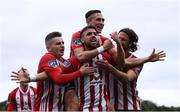 16 September 2018; Darren Cole, centre, celebrates with his Derry City team-mates, from left, Ronan Hale, Aaron McEneff and Danny Seaborne after scoring his side's second goal during the EA SPORTS Cup Final between Derry City and Cobh Ramblers at the Brandywell Stadium in Derry. Photo by Stephen McCarthy/Sportsfile