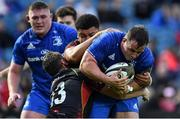 15 September 2018; Bryan Byrne of Leinster is tackled by Adam Warren of Dragons during the Guinness PRO14 Round 3 match between Leinster and Dragons at the RDS Arena in Dublin. Photo by Brendan Moran/Sportsfile