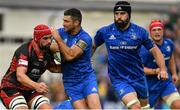 15 September 2018; Rob Kearney of Leinster is tackled by Cory Hill of Dragons during the Guinness PRO14 Round 3 match between Leinster and Dragons at the RDS Arena in Dublin. Photo by Brendan Moran/Sportsfile