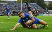 15 September 2018; Jordan Larmour of Leinster scores a try during the Guinness PRO14 Round 3 match between Leinster and Dragons at the RDS Arena in Dublin. Photo by Brendan Moran/Sportsfile