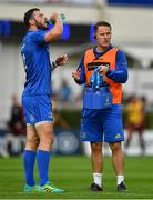 15 September 2018; Robbie Henshaw of Leinster takes a drink from Leinster head of athletic performance Charlie Higgins during the Guinness PRO14 Round 3 match between Leinster and Dragons at the RDS Arena in Dublin. Photo by Brendan Moran/Sportsfile