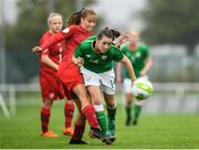 17 September 2018; Emily Whelan of Republic of Ireland in action against Aneta Soyakova of Czech Republic during the Women's U17 International Friendly match between Republic of Ireland and Czech Republic at the RSC in Waterford. Photo by Harry Murphy/Sportsfile