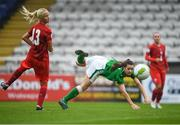 17 September 2018; Emily Whelan of Republic of Ireland has a shot at goal under pressure from Lucie Jezinkova of Czech Republic during the Women's U17 International Friendly match between Republic of Ireland and Czech Republic at the RSC in Waterford. Photo by Harry Murphy/Sportsfile