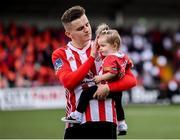 16 September 2018; Derry City's Ronan Hale, with his daughter Myá, prior to the EA SPORTS Cup Final between Derry City and Cobh Ramblers at the Brandywell Stadium in Derry. Photo by Stephen McCarthy/Sportsfile
