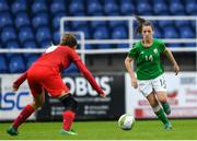 17 September 2018; Emily Whelan of Republic of Ireland in action against Nela Soutkiva of Czech Republic during the Women's U17 International Friendly match between Republic of Ireland and Czech Republic at the RSC in Waterford. Photo by Harry Murphy/Sportsfile