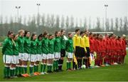 17 September 2018; Republic of Ireland and Czech Republic players prior to the Women's U17 International Friendly match between Republic of Ireland and Czech Republic at the RSC in Waterford. Photo by Harry Murphy/Sportsfile