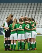 17 September 2018; Republic of Ireland players huddle prior to the Women's U17 International Friendly match between Republic of Ireland and Czech Republic at the RSC in Waterford. Photo by Harry Murphy/Sportsfile