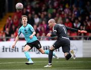 16 September 2018; Chris Hull of Cobh Ramblers and Gerard Doherty of Derry City during the EA SPORTS Cup Final between Derry City and Cobh Ramblers at the Brandywell Stadium in Derry. Photo by Stephen McCarthy/Sportsfile