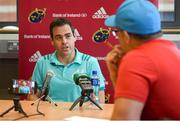 17 September 2018; Head coach Johann van Graan during a Munster rugby press conference at the University of Limerick in Limerick. Photo by Diarmuid Greene/Sportsfile