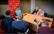 17 September 2018; Head coach Johann van Graan speaking to reporters during a Munster rugby press conference at the University of Limerick in Limerick. Photo by Diarmuid Greene/Sportsfile
