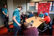 17 September 2018; Keith Earls speaks to reporters as team-mate Mike Sherry looks on during a Munster rugby press conference at the University of Limerick in Limerick. Photo by Diarmuid Greene/Sportsfile