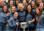 17 September 2018; Dublin players Sinéad Aherne, left, and Lyndsey Davey hold the Brendan Martin Cup during the TG4 All-Ireland Senior Ladies Football Champions visit Temple Street Children's University Hospital in Dublin. Photo by Piaras Ó Mídheach/Sportsfile