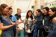 17 September 2018; Maya Kulendran, from Castlebar, Co Mayo, with the Brendan Martin Cup and Dublin footballers, from left, Muireann Ni Scanaill, Niamh Collins, Lauren Magee, Sinéad Aherne, Lyndsey Davey and Sinéad Goldrick during the TG4 All-Ireland Senior Ladies Football Champions visit Temple Street Children's University Hospital in Dublin. Photo by Piaras Ó Mídheach/Sportsfile